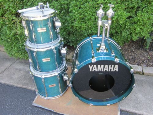 Yamaha Recording Custom Drum Set Deep Aqua 10 12 14 20 1990