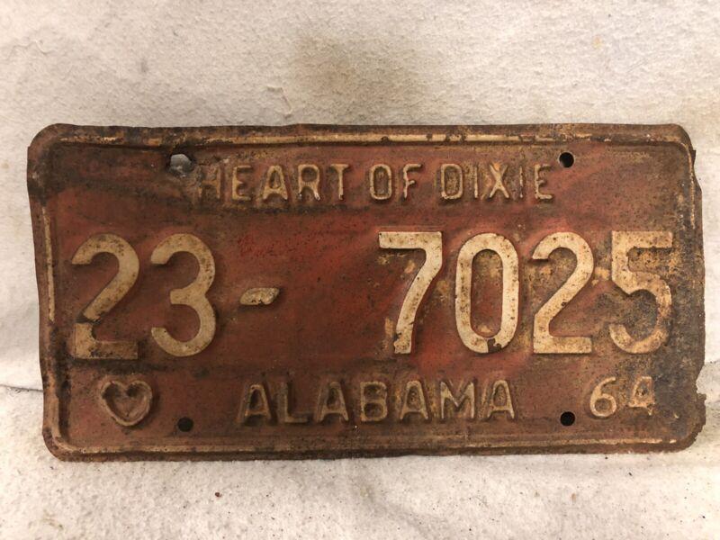 Vintage 1964 Alabama License Plate