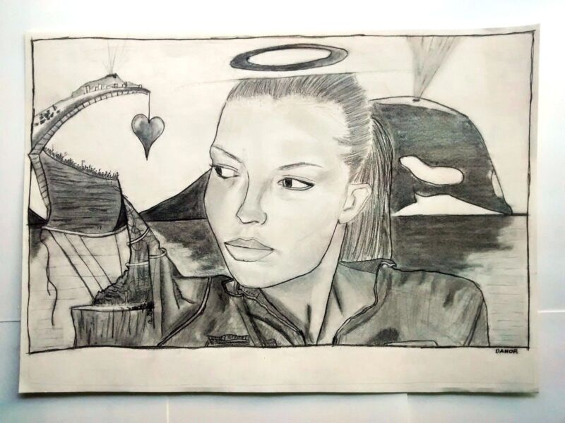 Danor Shtruzman Drawing - Girl Model and A Community Around, Whale At The Back
