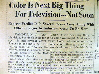 1948 newspaper COLOR TELEVISION in process of being invented but not PUBLIC yet