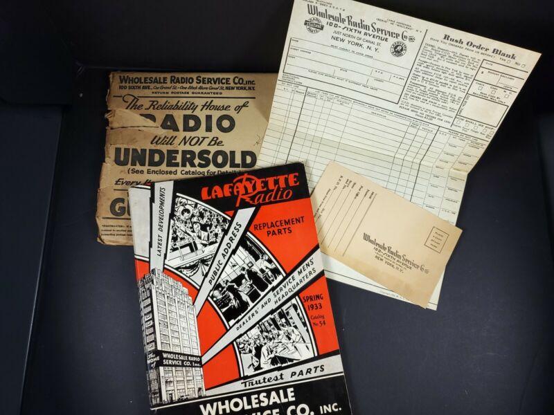 Wholesale Radio Service 1933 Catalog 156 pgs Mail Envelope order form Original
