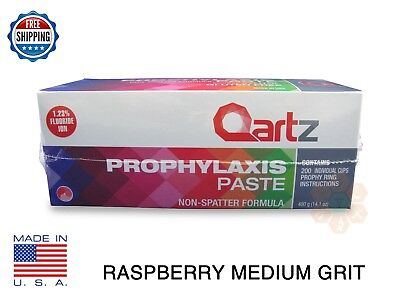 Qartz Prophy Paste Cups Raspberry Medium 200box Dental Non Splatter Wflouride