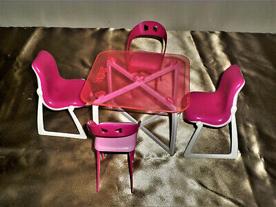 Vintage Barbie Doll Dream Furniture Collection Dining Table with chairs.