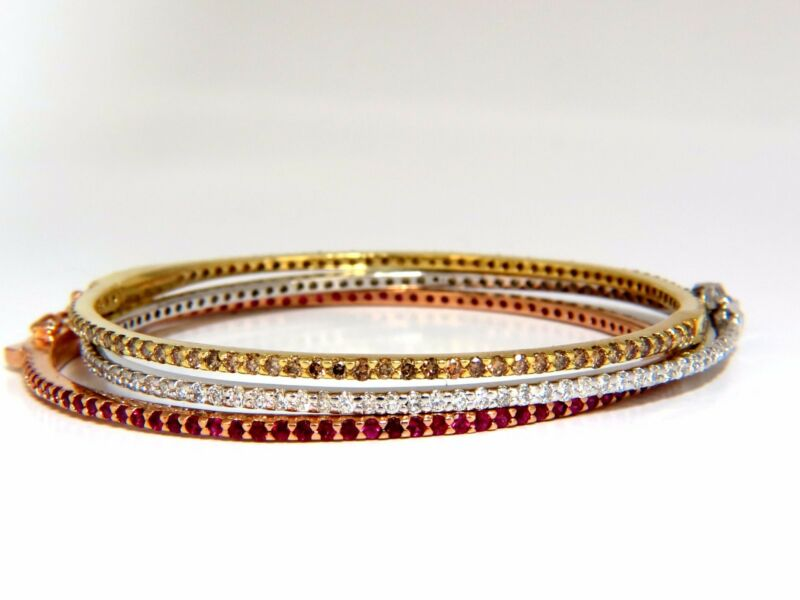 6.34ct Natural Fancy Brown White Diamonds & Ruby Stacking Bangle Bracelets+