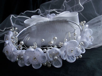 new bridal flower girl 1st first Communion white flower wreath crown white veil