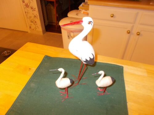 LATE 1800S MADE IN GERMANY STORK CANDY CONTAINER WING LIFTS ALONG WITH 2 BABIES