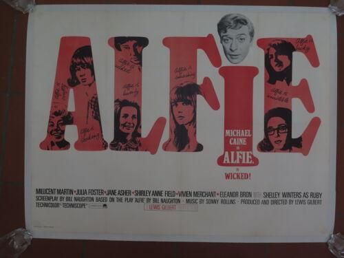 Original UK British Quad Film Poster ALFIE 1966 Michael Caine Linen Backed