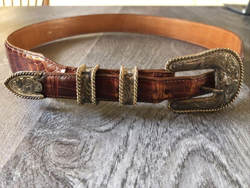 Vintage 4-Piece Vogt Sterling Silver 14k Gold Filled Rope Edge Belt Buckle Set