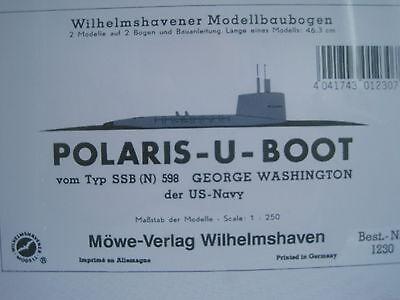 Polaris U-Boot Schiff Wilhelmshavener Modellbaubogen Kartonmodell