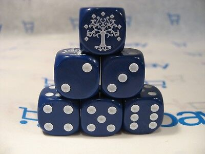 Lord of the Rings LOTR TMG Combat Hex Dice - Blue Gondorian (Solid) x 6 - Lord Of The Rings Dice