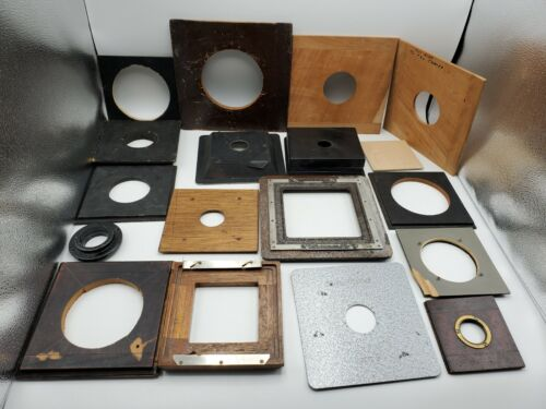 """Lot of 17 Vintage Camera Lens Boards Adapters Recessed Metal Wood 4""""x4"""" 8""""x8"""" +"""