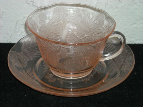 Thistle Cup and Saucer  Pink