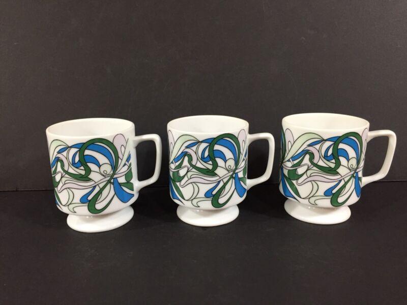 SET OF 3 Vintage Mid Century Modern Pedestal Coffee Mug Cup Blue Swirl Design