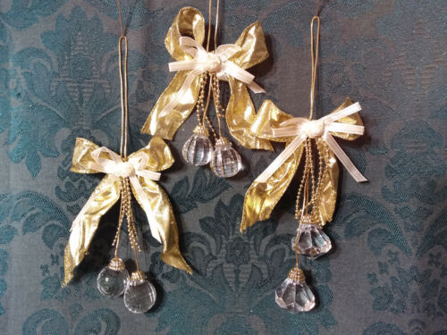 Home Interiors Christmas Ornaments/Gold Ribbon Bow& Faceted Crystals/Set-3 /New