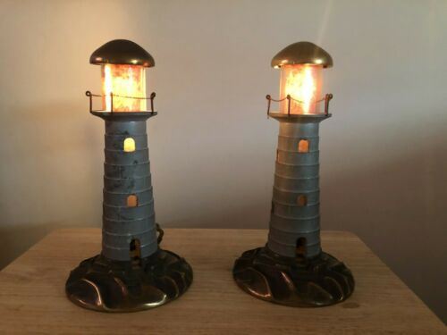 """Antique Pair Partial Brass LIGHTHOUSE Lamp  11"""" Tall Art Deco Works - Read"""