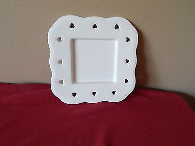Scalloped Square Tray (New PartyLite Square Pillar Tray With Heart Cutouts and Scalloped Edges P8139)