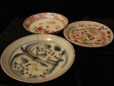 Three China Qing Dynasty Dish