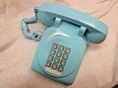 Western Electric Aqua Blue Round-Face Touchtone Model 2500 Telephone.