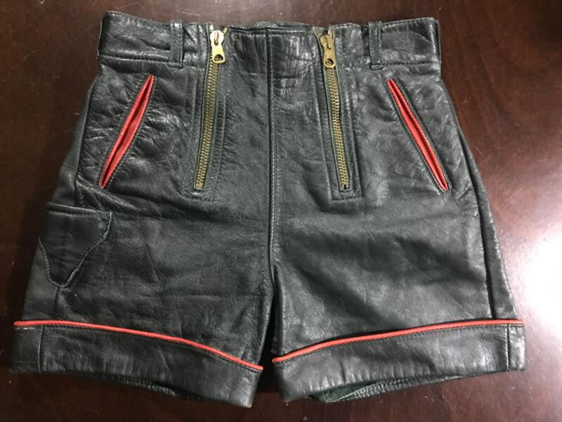 German Authentic Leather Edelweiss Oktoberfest Shorts Green W/ Red Trim
