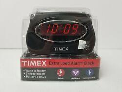 Timex Alarm Clock T101B Extra Loud Led Alarm Clock Black New in Packaging