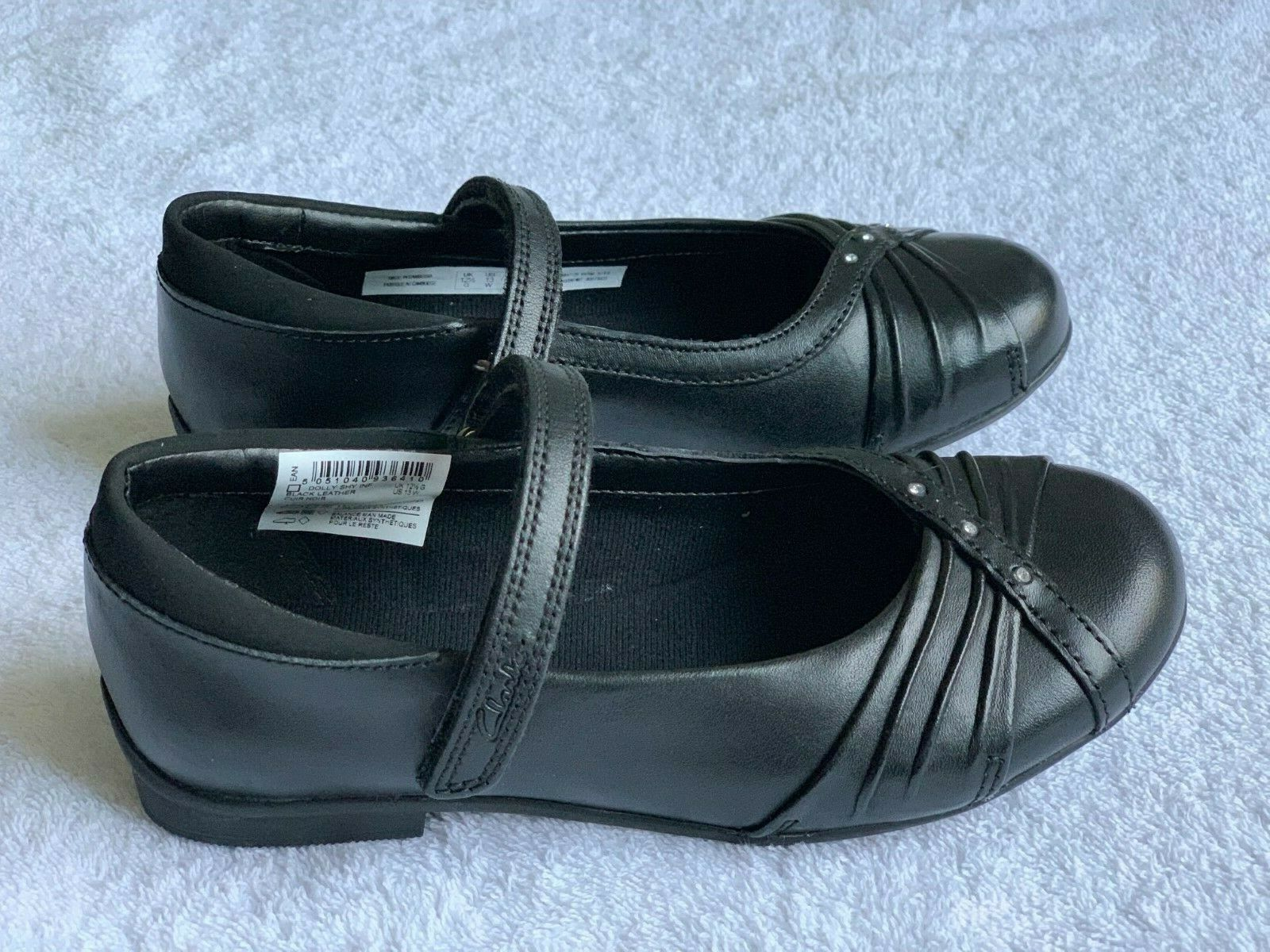 BNIB Clarks Bootleg Selsey Play Girls Black Patent Leather School Shoes