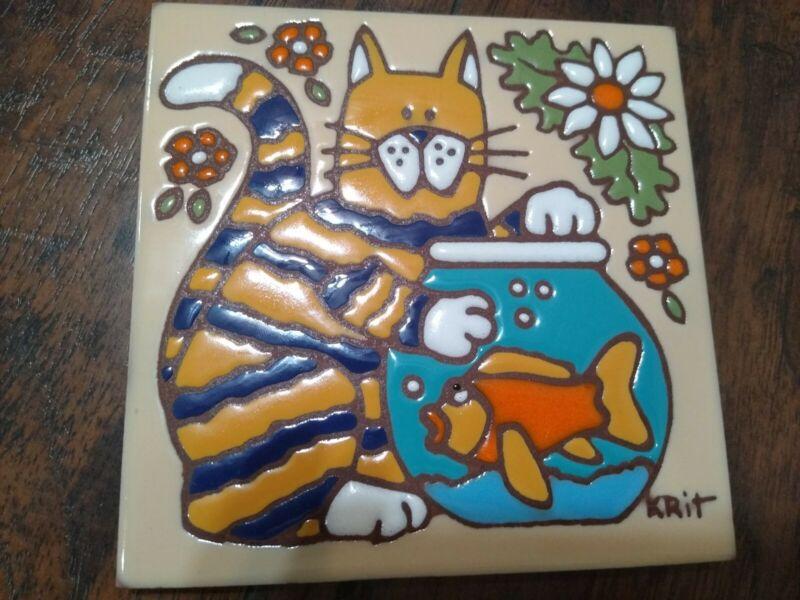 Earthtones Art Tile Trivet Signed Krit Cat Kitty Decor just looking fish vtg usa