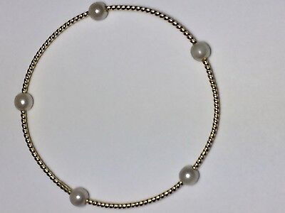 Estate 18k Yellow Gold Twisted Rope and Pearl Bangle Bracelet