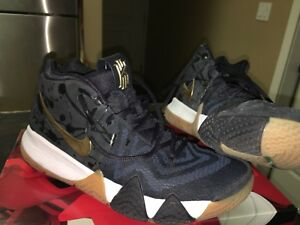 Kyrie 4 Metallic Gold and Pitch Blue 9.5