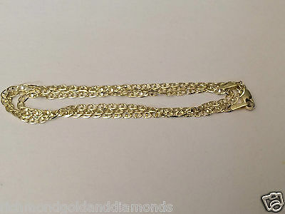 "14k Solid Yellow Gold Necklace Flat Gucci Mariner Chain 2.5MM 22"" inch 2.5 MM"