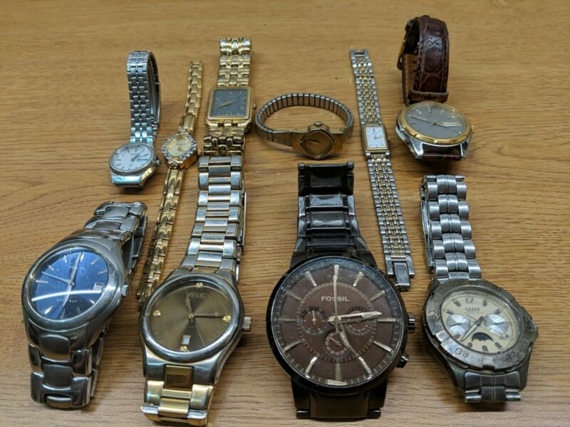 LOT OF WRISTWATCHES FOSSIL GUESS RELIC SEIKO ELGIN MEMS LADIES