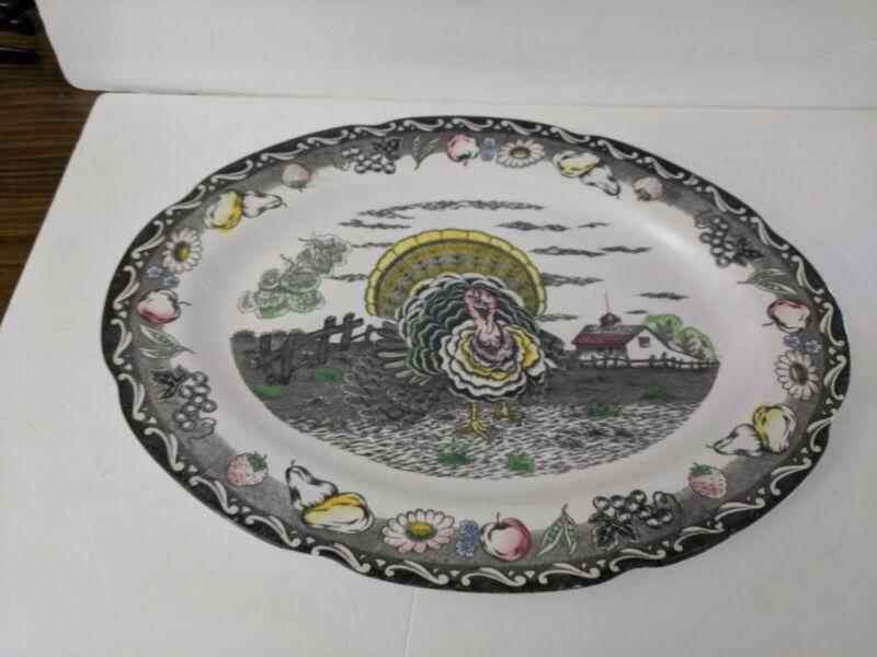 Royal Sealy  Ironstone Turkey Platter MINT japan