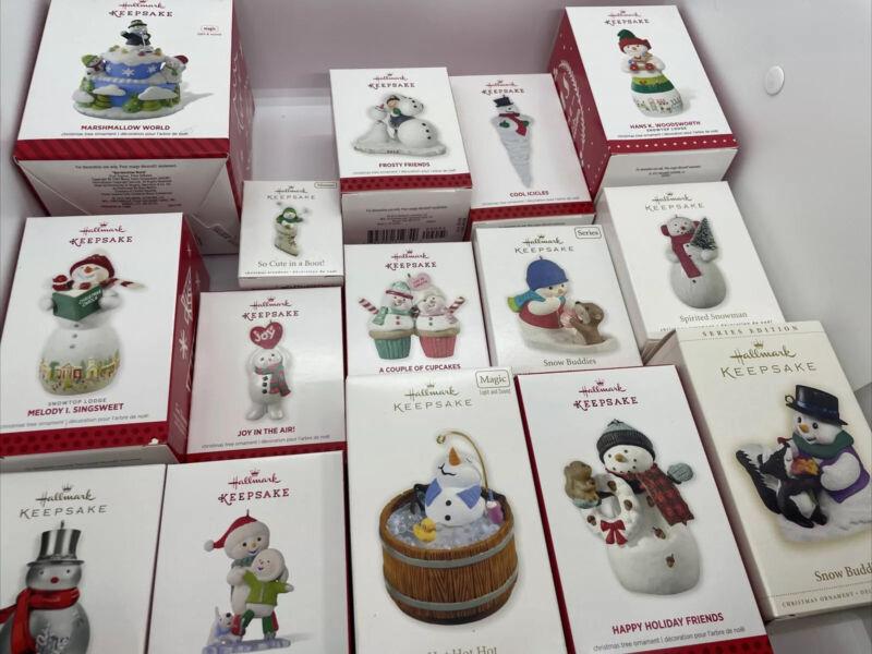 Hallmark Keepsake Snowman Christmas Ornaments - Lot of 15 (1 Signed By Artist!)