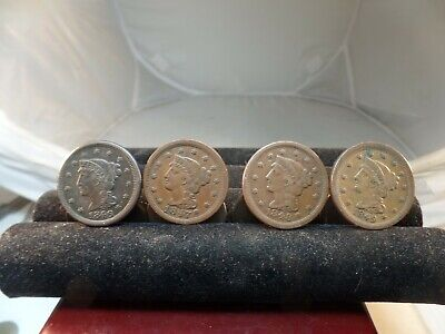 Lot (4) BRAIDED HAIR LARGE Cent Coins 1846,47,48,49 # C 1517