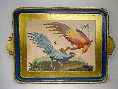 Gold Gilt Birds Florentine Wood Tray from Italy 21