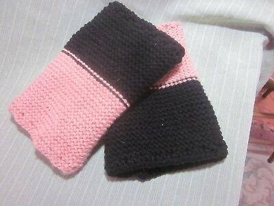 Plus Size Boot Cuffs (Boot Cuffs Toppers Black Apricot Reversible Eyelet Acrylic Hand Knit Plus)