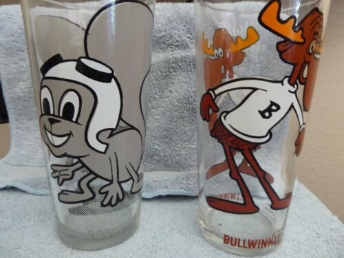Pepsi Collector Series 1970s Rare Grey Rocky & Bullwinkle Drinking Glass P. Ward