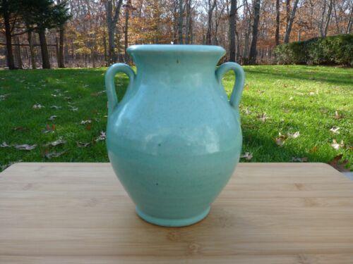 Antique Brush McCoy Pottery Celadon Glazed Handled Vase