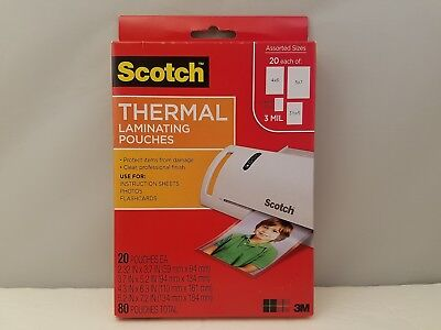 Scotch Thermal Laminating Pouches Variety Pack 80 Ct 3 Mil Tp-mix-80