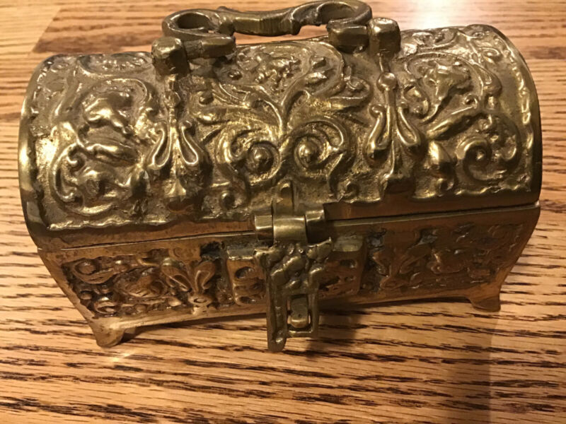 Antique Heavy Brass Hinged Jewelry Box Made In Belgium Trunk Chest box