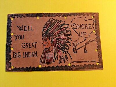 LEATHER POSTCARD,  INDIAN