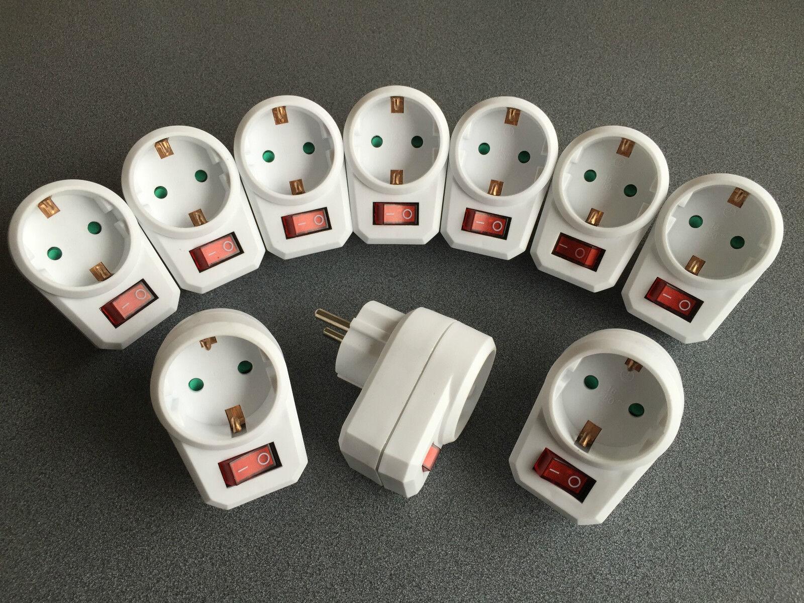 10 schaltbare Steckdosen mit Schalter Steckdosenschalter Stecker Schuko Adapter