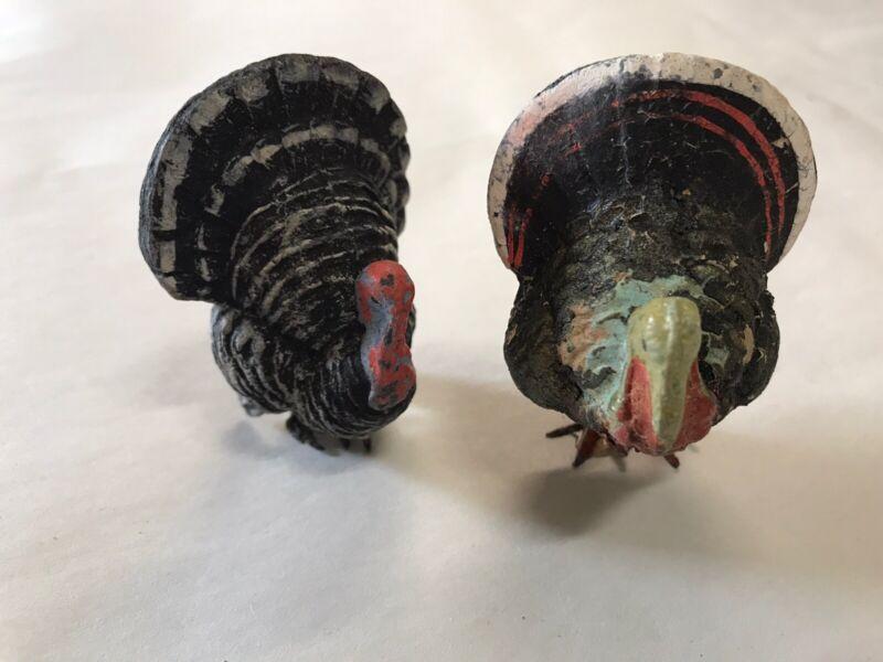 "A Pair of Thanksgiving Turkey Cousins❣️Antique Shy of 3"" German Compo Mache"
