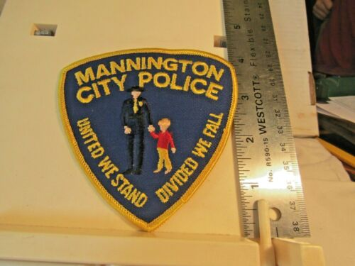 Mannington City Police cop with child WV West Virginia patch NOS United we Stand