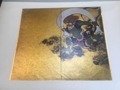 2 Stunning Vintage Gold Gilt Japanese Woodblock Prints Kabuki in Folder