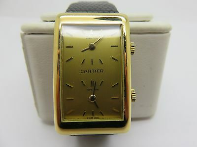 RARE CARTIER 18K SOLID GOLD DUAL HOME TIME WRIST WATCH BEST PRICE ON