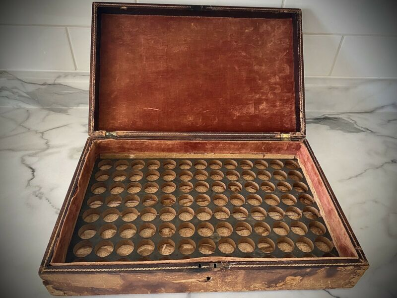 Antique Leather And Wood Homeopathic Medicine Box / Chest 1860s Civil War Era