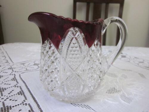 BEAUTIFUL ORNATE RUBY FLASH GLASS JUG