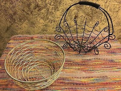 Wire Baskets Wholesale (2 Halloween candy spider web metal wire bowls baskets dishes black silver)
