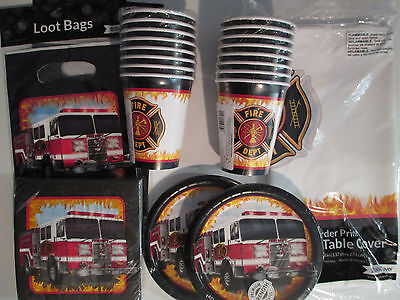 rtstag Party Supplies Set Pack W / Beutel (Feuerwehr-geburtstag Party Supplies)