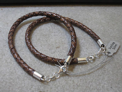 Antique Brown braided Genuine Leather Cord Men Bracelet 925 Sterling - Antique Brown Leather Bracelet